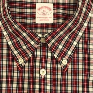 Brooks Brothers 346 Button-Down Plaid Long Sleeve